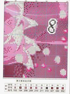 Precioso gráfico de un tríptico de flores con reloj...