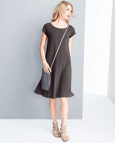 Eileen Fisher Organic Cotton Ballet-Neck Dress.  I have this dress in black (PM) and it fits well.