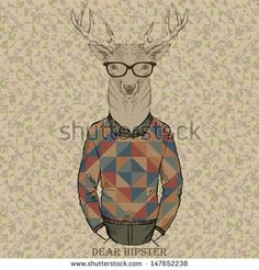 cute fashion Hipster dear, vector illustration of dear portrait - stock vector