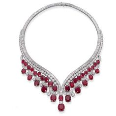 AN IMPORTANT RUBY AND DIAMOND NECKLACE ❤ liked on Polyvore featuring jewelry, necklaces, diamond jewellery, ruby jewellery, jewel necklace, diamond jewelry and diamond necklace