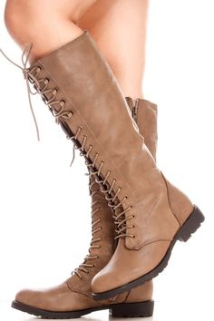 Taupe faux leather lace up knee high casual boots with side zipper