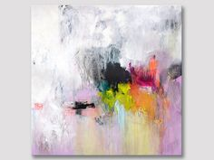Large abstract acrylic painting, original square abstract art on stretched canvas, x modern wall art, XL ready to hang, gold leaves Colorful Paintings, Texture Painting, Acrylic Art, Painting Inspiration, Art Pictures, Bunt, Abstract Art, Abstract Paintings, Fine Art