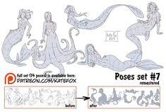 Kate Fox is creating Comics, art, pose-study sets and fox-illustration Mermaid Pose, Mermaid Art, Drawing Base, Figure Drawing, Mermaid Drawings, Poses References, Art Poses, Drawing Reference Poses, Illustration Sketches