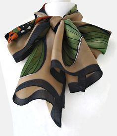 Long Butterfly Silk Scarf Black And Beige by SimplySilkScarves,