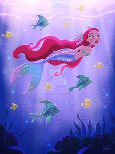 Mermaid Swimming with Fish by DylanBonner on DeviantArt Siren Mermaid, Cute Mermaid, Mermaid Lagoon, Ariel The Little Mermaid, Mermaid Art, Vintage Mermaid, Tattoo Mermaid, Mermaid Tails, Fantasy Mermaids
