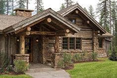 Walt Landi Signature Log Homes Log Cabin Living, Log Cabin Homes, Log Cabins, Log Cabin Exterior, Cabins In The Woods, House In The Woods, Country Builders, Wood House Design, Little Cabin