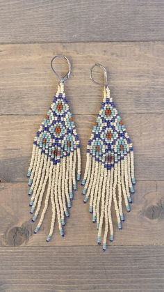 Fringe earrings made with Miyuki and Toho seed beads. My Morrocan Tiles earrings are very light and beautiful. Perfect for any occasion. 4 length 1 width