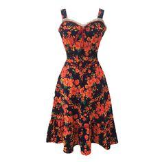 1970s vibrant floral vintage strappy dress