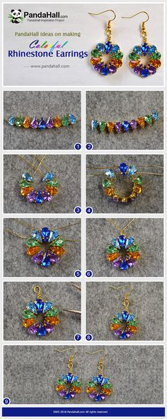 # PandaHall ideas for making colorful rhinestone earrings . - for making colorful rhinestone earrings colorful - Bead Jewellery, Wire Jewelry, Jewelry Crafts, Handmade Jewelry, Earrings Handmade, Earring Tutorial, Diy Tutorial, Beaded Jewelry Patterns, Jewelry Making Tutorials