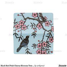 Black Bird Pink Cherry Blossom Tree Branches Checkbook Cover