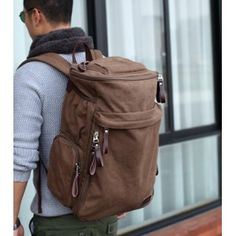 Motorcycle backpack, european canvas rucksack