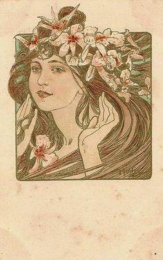 Alfons Mucha - Carte postale via Speziali Art Nouveau Mucha, Alphonse Mucha Art, Art Nouveau Poster, Illustration Art Nouveau, Jugendstil Design, Art Manga, Belle Epoque, Oeuvre D'art, New Art