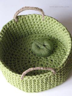 Crocheted t-shirt yarn basket with hemp string handles http://www.ravelry.com/projects/Bottheka/big-green-basket