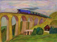 """Steam train on viaduct"" by Lorenzo-CZ Canvas Prints, Framed Prints, Art Prints, Art Boards, Colored Pencils, Travel Mug, Train, Wall Art, Painting"