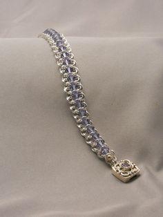 "Sterling Silver Chain Maille Bracelet with Tanzanite Swarovski Crystals - ""Tanzanite Centipede Bracelet"""