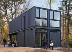 MB architecture sets a prefabricated multi-purpose container in bard college new york Building A Container Home, Container Buildings, Container Architecture, Shipping Container Home Designs, Container House Design, Shipping Containers, Shipping Container Office, Container Cabin, Cargo Container