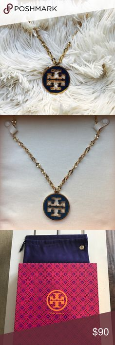 """Tory Burch pendant necklace A long metal chain ends in an iconic logo pendant cast in smooth, glossy enamel. Lobster clasp closure. Approx. length: 33"""". Approx. pendant diameter: 2"""". Brass/16k-gold plating/enamel. By Tory Burch; imported. Tory Burch Jewelry Necklaces"""