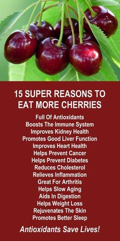 15 Super Reasons To Eat More Cherries. They are loaded with antioxidants and fantastic for relieving inflammation. Amplify the effects dramatically by infusing with alkaline rich Kangen Water; the hydrogen rich, antioxidant loaded, ionized water that neutralizes free radicals that cause oxidative stress which can lead to a variety of health issues including disease such as cancer. Change your water, change your life. LEARN MORE #Cherries #Antioxidants #Health #Benefits