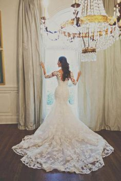 De Renda Sereia Branco/Marfim Vestido de noiva vestido de casamento tamanho personalizado 6-8-10-12-14-16 +