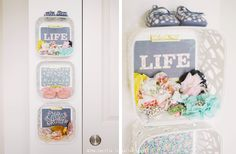 Holy Adorable DIY Nursery Storage - white baskets are from @Target with scrapbook paper at the bottom!