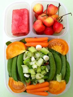Baby green salad (arugula, swiss chard & spinach topped with tomatoes, carrots, celery, green onions and sugar snap peas. Above are Rainier cherries and watermelon.  #EasyLunchBoxes, #salad, #plant based
