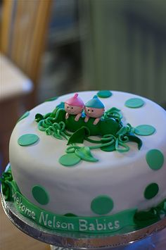 """""""Two Peas In A Pod"""" Baby Shower Cake for Twins."""