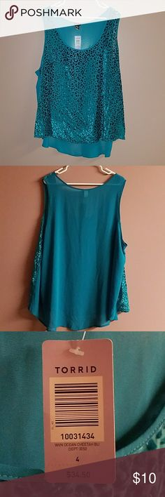 Leapord see through sleeveless blouse. Teal color from Torrid.NWT.Never Worn.Size 4 (26/28) torrid Tops Blouses