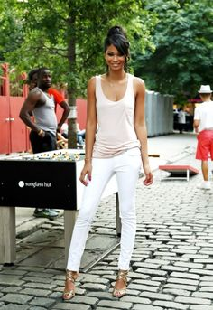 Summer style | pale pink tank and white skinny jean