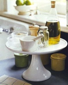 Spreading Out: 14 Ways to Get More Counter Space--Nice use of a cake platter.