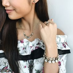 A few pieces from the |Rosette Collection| paired with the gorgeous Heirloom Crystal bracelet (the bottom one pictured). Beautiful combination. [Link in the bio.] #chloeandisabel #springfashion #bridaljewelry #weddings #weddinggifts #gifts #vintageinspired #boutique #jewelry #fashionaccessories #style #prom #bridal #bridalboutique