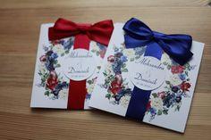 Zaproszenia ślubne kwiaty granat bordo ❤️