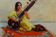 """ARTFINDER: Shivranjani - Sitar Player by Snehal Page - """"Shivranjani"""" is a name raga (composition) in Indian classical music which """"Neha"""" - the sitarist is playing in the painting.  Special Diwali offer - Use di..."""