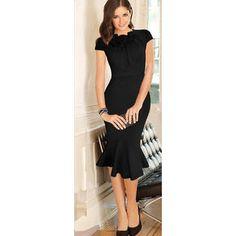 Unomatch Women s Flower Decorated Neck Short Sleeves Dress Black Cap Sleeves b5c562cac9