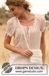 "Crochet DROPS bag with lace in ""Lin"". ~ DROPS Design"
