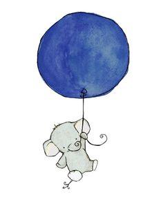 Children's Art -- Flying High Elephant Navy Blue Balloon 8x10 -- Art Print, via Etsy.