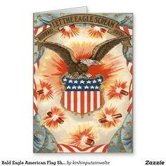 Bald Eagle American Flag Shield Fireworks Greeting Card