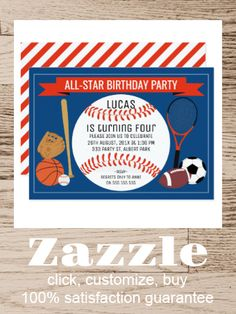 Shop Kids Baseball Sports Birthday Party Invitation created by Sugar_Puff_Kids. Personalize it with photos & text or purchase as is! Baseball Birthday Party, Sports Birthday, Sports Party, Sports Baseball, Kids Sports, Birthday Invitations Kids, Star Party