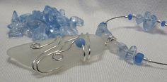 Wire Wrapped Sea Glass with Blue Chips by WestIndiesSeaGlass
