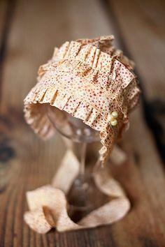 GWEN- Ruffled Polka Dot Newborn Fabric Bonnet. Vintage Style. Baby Girl. Photo Prop.. $39.00, via Etsy.