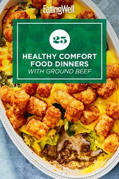 Enjoy one of these comforting dinner recipes made with ground beef. Ground beef is a quick-cooking, budget-friendly protein that works in a variety of dishes including pasta, chili and more. Try recipes like Broccoli, Beef & Tater Tot Hotdish and Mini Meatloaves with Green Beans & Potatoes for a cozy, delicious dinner that you'll turn to again and again. #comfortfood #healthyrecipes #healthycomfortfood #healthyrecipes Healthy Comfort Food, Healthy Meals, Easy Meals, Healthy Ground Beef, Ground Beef Recipes, Enchilada Casserole Beef, Frosty Recipe, Dinner With Ground Beef, Broccoli Beef