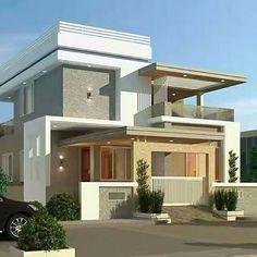Modern Exterior House Designs, Best Modern House Design, Bungalow House Design, Exterior Design, House Outside Design, House Front Design, Front Elevation Designs, Model House Plan, Home Building Design