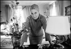French actress Michèle Morgan at home, photo by Guy Le Querrec, 1967
