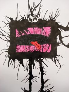 ink creatures - what a fun idea for art class!
