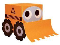 box shape bulldozer paper toy  pepakuracorner.blogspot.com