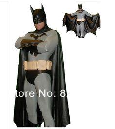 Batman kostuum volwassen mannen halloween kostuums voor mannen zwarte bodysuit zentai cape masker carnaval superheld kostuum custom(China (Mainland))