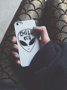 phone cover chill out alien tumblr instagram white black hipster skater urban grunge band