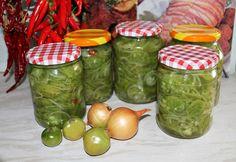 Zöldparadicsom-saláta télire Coleslaw, Finger Foods, Pickles, Cucumber, Mason Jars, Sandwiches, Yummy Food, Sweets, Homemade