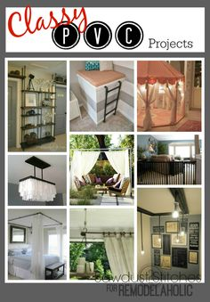 Classy PVC remodelaholic Use over pipes for diy projects Pvc Pipe Crafts, Pvc Pipe Projects, Diy Projects To Try, Home Projects, Lathe Projects, Diy Crafts, Pvc Furniture, Industrial Furniture, Outdoor Furniture