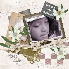 A photo of Kassi a few years ago that I love. I used a kit called Tranquil Gardens and the word art is from a kit called Inspiration.  Both are by Designs by Larua Burger and you can get them at Pickleberry Pop