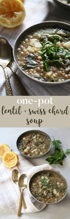 One-Pot Lentil and Swiss Chard Soup - the perfect, easy soup for chilly fall and winter days.